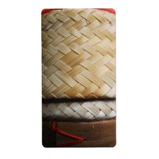 Kratip Thai Lao Isan Bamboo Rice Basket Label