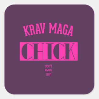 Krav Maga Chick - Dont even try Square Sticker