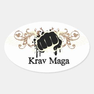 Krav Maga Punch Oval Sticker