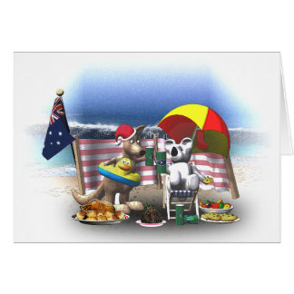 Krazy Kangaroo - Christmas on the beach Card