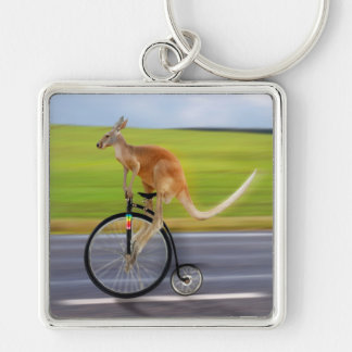 Krazy Kangaroo Silver-Colored Square Keychain