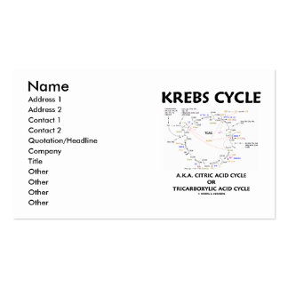 Krebs Cycle A.K.A. Citric Acid Cycle Tricarboxylic Business Card