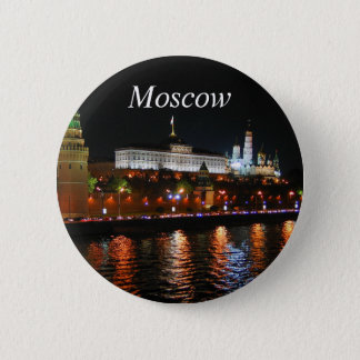 Kremlin Lights Reflecting off Moskva River, Moscow Button