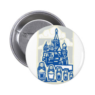 Kremlin with Nested Dolls Pinback Button