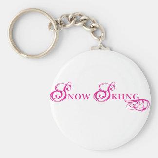 Kresday Flare Snow Skiing Basic Round Button Keychain