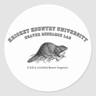 Kricket Kountry University, Beaver Research Lab Classic Round Sticker