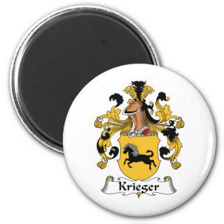 Krieger Family Crest 2 Inch Round Magnet