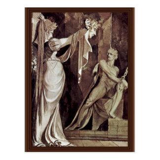 Kriemhild muestra la Hagen principal Gunther por F Postales