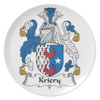 Kriery Family Crest Dinner Plate