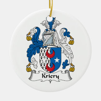 Kriery Family Crest Double-Sided Ceramic Round Christmas Ornament