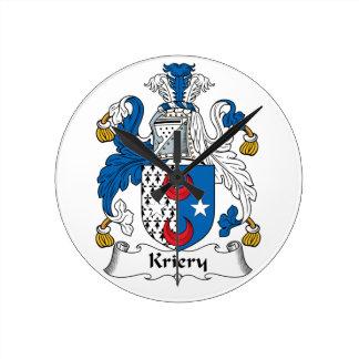 Kriery Family Crest Round Clock