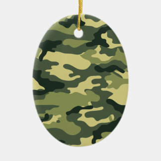 Kris alan Camouflage Double-Sided Oval Ceramic Christmas Ornament