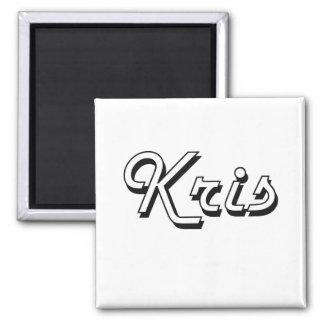 Kris Classic Retro Name Design 2 Inch Square Magnet