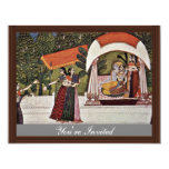 Krishna And Radha In A Pavilion By Nihâl Chand 4.25x5.5 Paper Invitation Card