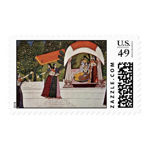 Krishna And Radha In A Pavilion By Nihâl Chand Postage Stamps