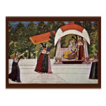 Krishna And Radha In A Pavilion By Nihâl Chand Postcard