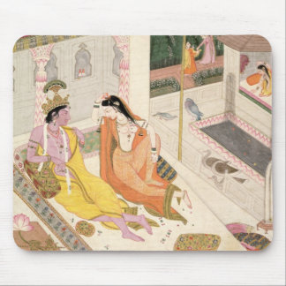 Krishna and Radha on a bed in a Mogul palace, Punj Mouse Pad