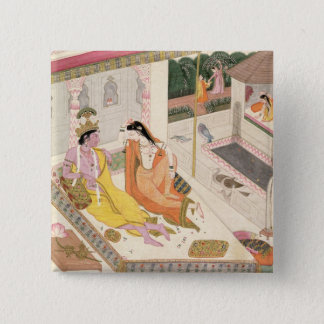 Krishna and Radha on a bed in a Mogul palace, Punj Pinback Button