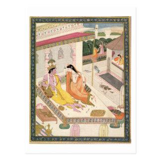 Krishna and Radha on a bed in a Mogul palace, Punj Postcard