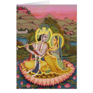 Krishna and Radha on lotus Card