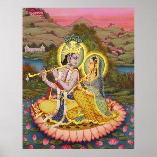 Krishna and Radha on Lotus -large print