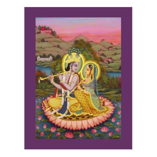 Krishna and Radha on lotus Postcards