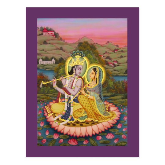 Krishna and Radha on lotus Postcard