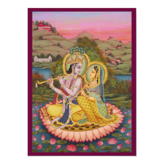 Krishna and Radha on lotusInvitation Card