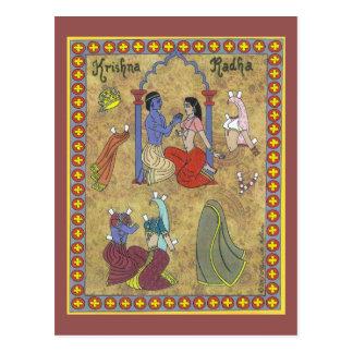Krishna and Radha Paper Doll Postcard