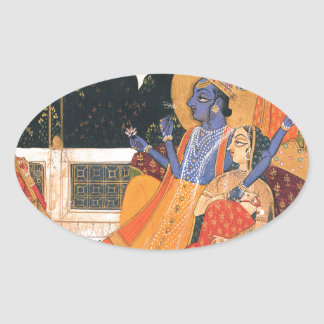 Krishna and Radha Oval Sticker