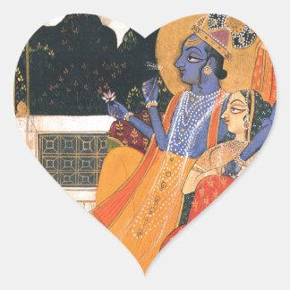 Krishna and Radha Heart Sticker
