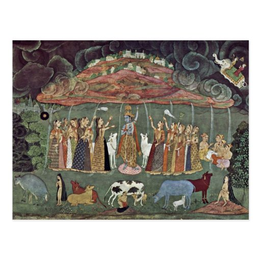 Krishna And The Mountain Govardhan By Shahadin Postcards