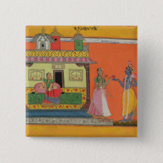 Krishna arriving at Radha's house, illustration fr Button