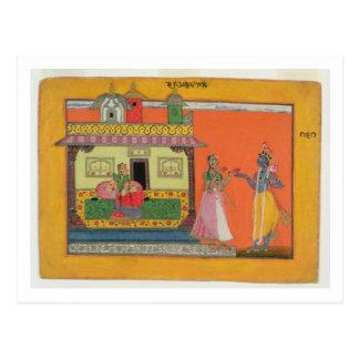 Krishna arriving at Radha's house, illustration fr Postcard