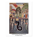 Krishna Dances Over The Subdued By Indian Painter Postcard
