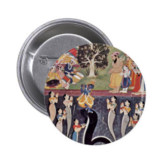 Krishna Dances Over The Subdued Kaliya Naag In Riv Pinback Button