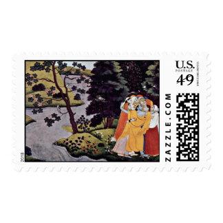 Krishna Embraced Gopas By Meister Des Gâtâ-Govinda Postage Stamps