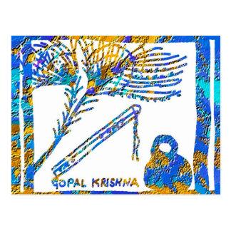 Krishna - flauta, suero de la pluma n del pavo postal