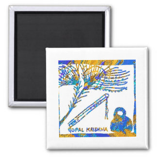 Krishna - Flute, Peacock Feather n Buttermilk 2 Inch Square Magnet