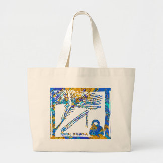 Krishna - Flute, Peacock Feather n Buttermilk Large Tote Bag