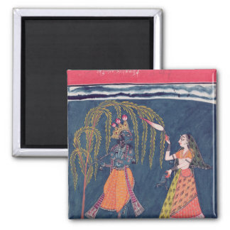 Krishna playing a flute, from the 'Vahula 2 Inch Square Magnet