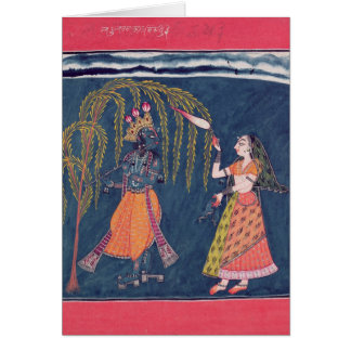 Krishna playing a flute, from the 'Vahula Greeting Card