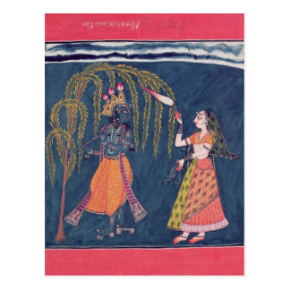 Krishna playing a flute, from the 'Vahula Postcard