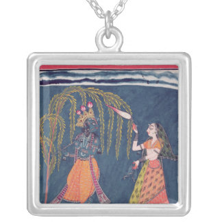 Krishna playing a flute, from the 'Vahula Silver Plated Necklace