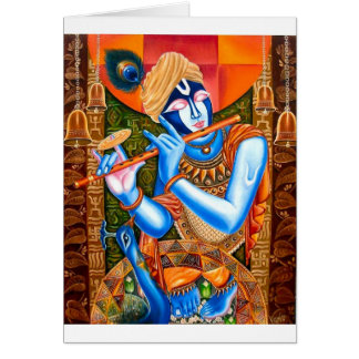KRISHNA THE FLUTE PLAYER INDIAN ABSTRACT CARD