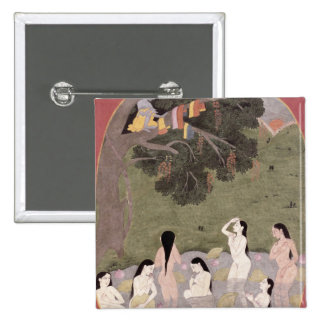 Krishna with the Cow Girls' clothes, Pinback Button