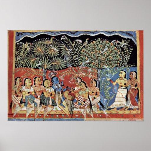 Krishna y el bosque de Gopas del varón de Westindi Posters