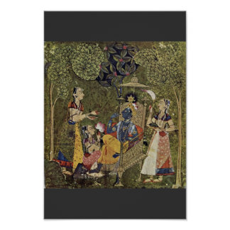 Krishna y los chicas de Indischer Maler Um 1710 ( Poster