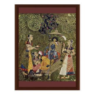 Krishna y los chicas de Indischer Maler Um 1710 ( Tarjetas Postales