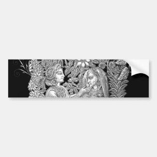 Krishna y Radha Etiqueta De Parachoque